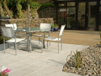 Softwood Decking and Marshalls Argent Paving